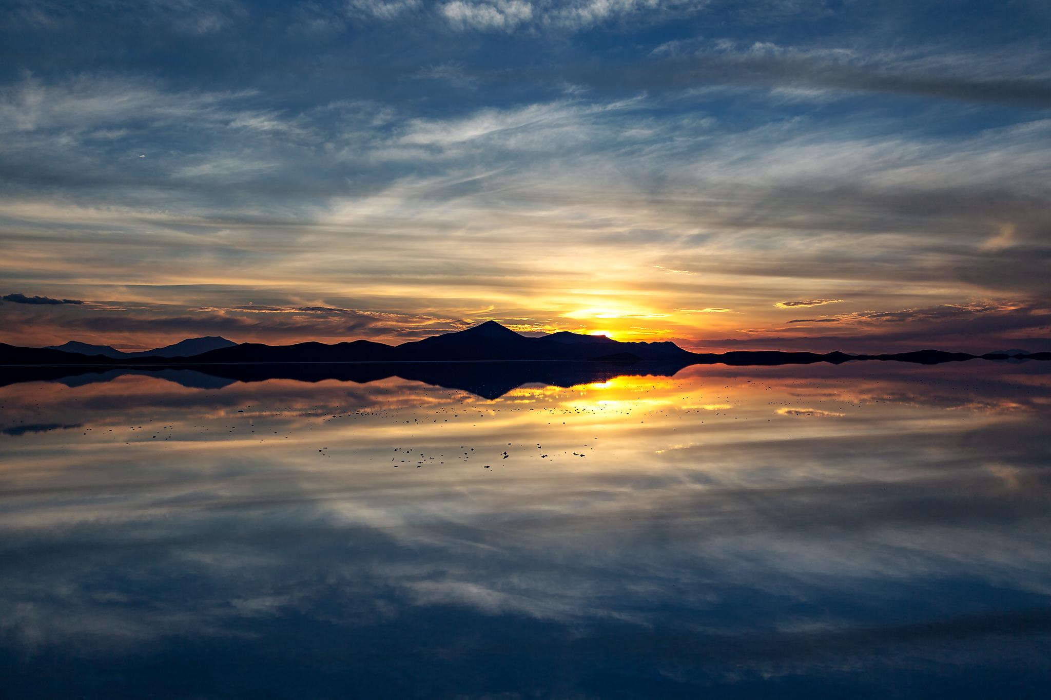 Sonnenuntergang in der Siloli Steinwüste